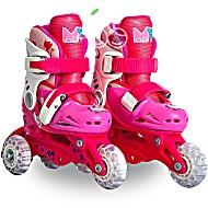 Роликовые коньки детские 28 размер, для обучения (трансформеры, раздвижной ботинок) MagicWheels розовые